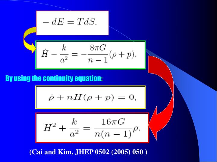 By using the continuity equation