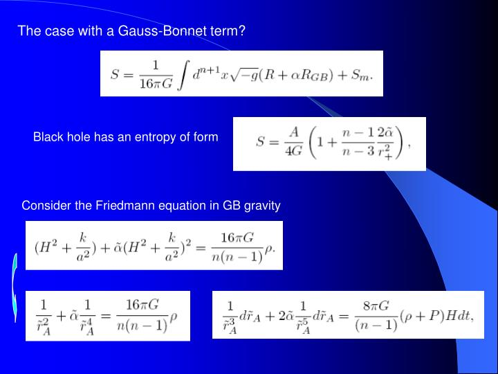 The case with a Gauss-Bonnet term?