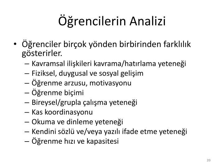 Öğrencilerin Analizi
