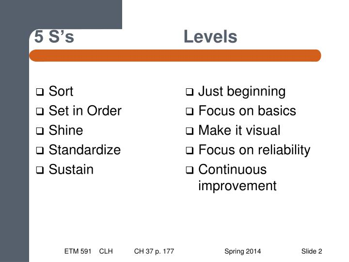5 S's  Levels