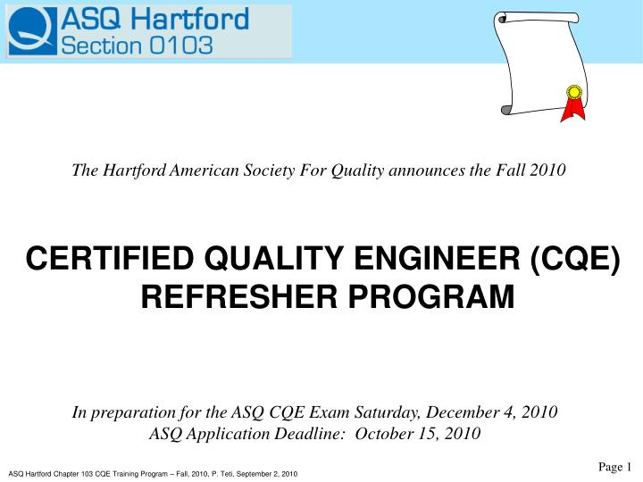 The Hartford American Society For Quality announces the Fall 2010