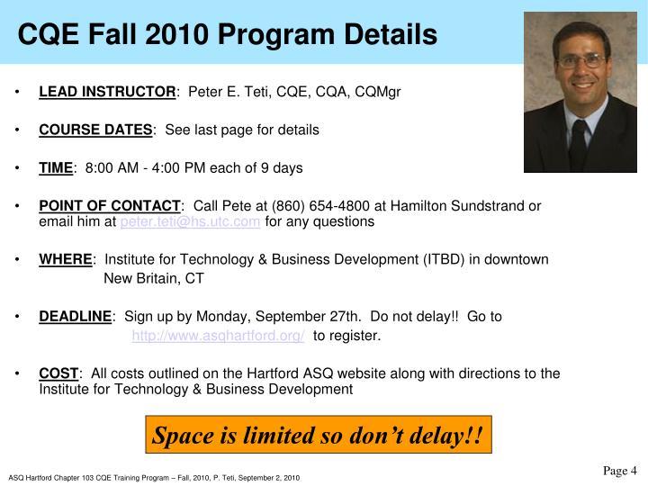 CQE Fall 2010 Program Details