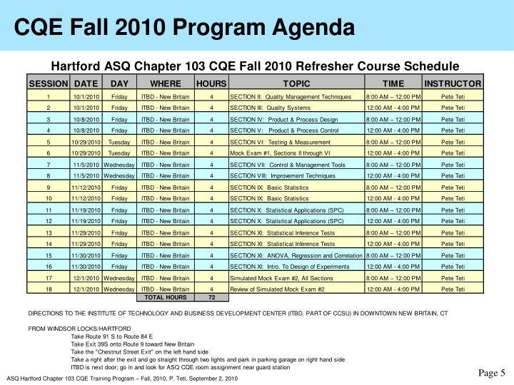 CQE Fall 2010 Program Agenda