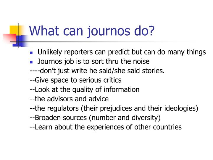 What can journos do?