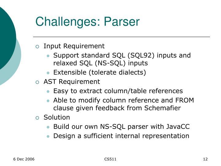 Challenges: Parser