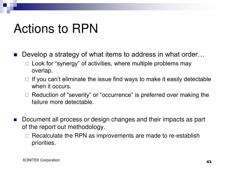 Actions to RPN