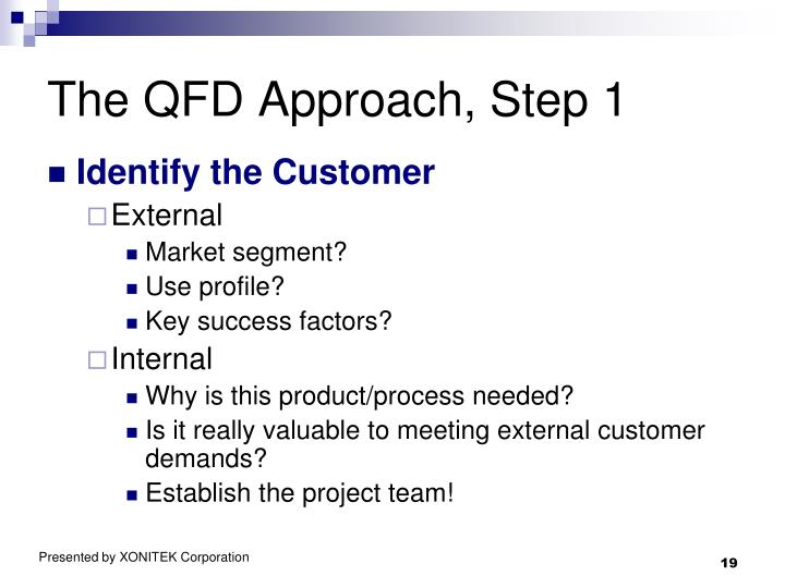 The QFD Approach, Step 1