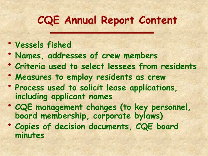 CQE Annual Report Content