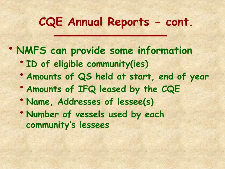 CQE Annual Reports - cont.
