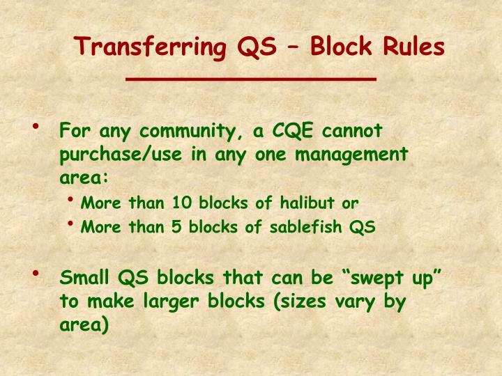 Transferring QS – Block Rules
