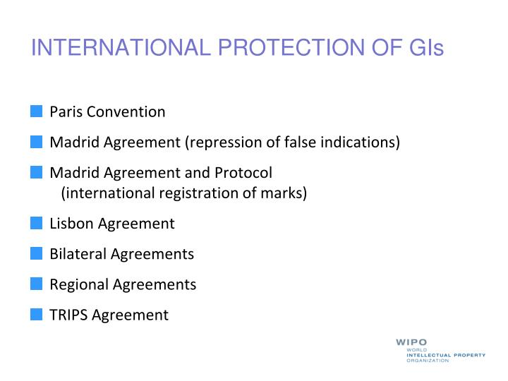 INTERNATIONAL PROTECTION OF GIs
