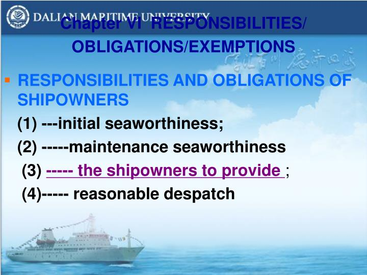 Chapter VI  RESPONSIBILITIES/ OBLIGATIONS/EXEMPTIONS