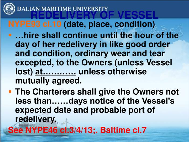 REDELIVERY OF VESSEL