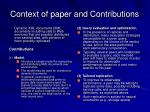context of paper and contributions