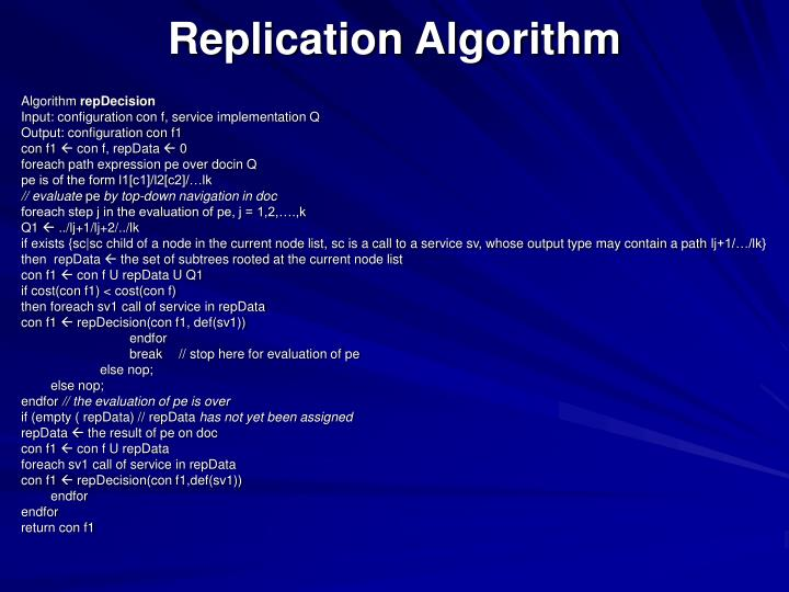 Replication Algorithm