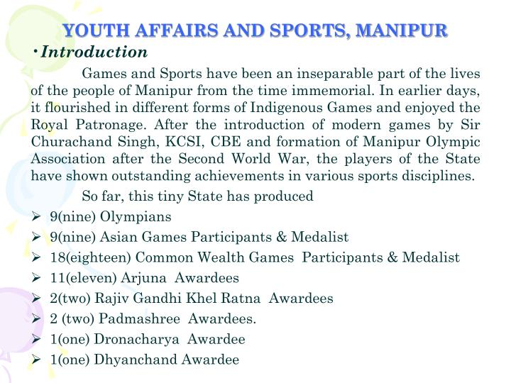 YOUTH AFFAIRS AND SPORTS, MANIPUR