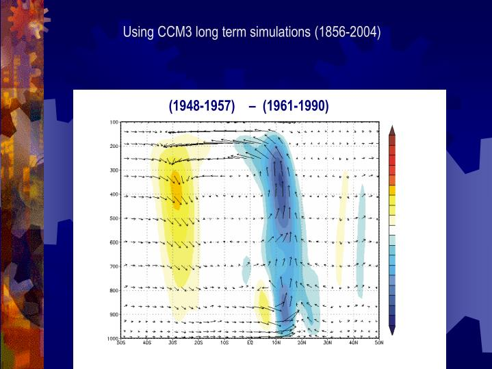 Using CCM3 long term simulations (1856-2004)