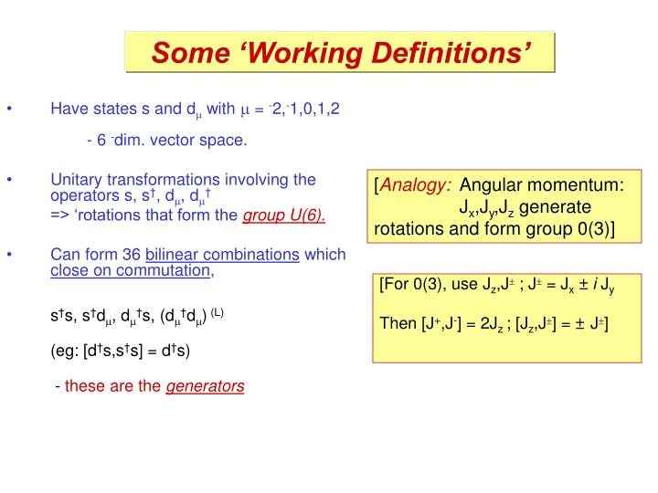 Some 'Working Definitions'