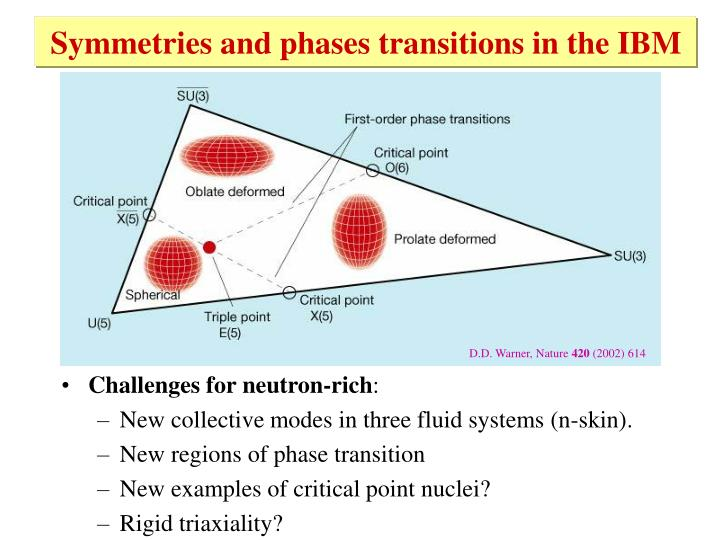 Symmetries and phases transitions in the IBM