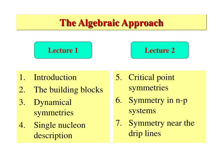 The algebraic approach