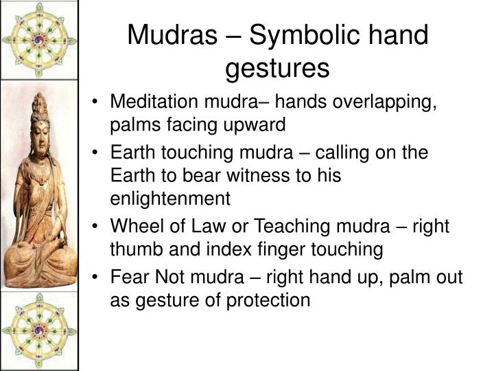 Meditation mudra– hands overlapping, palms facing upward