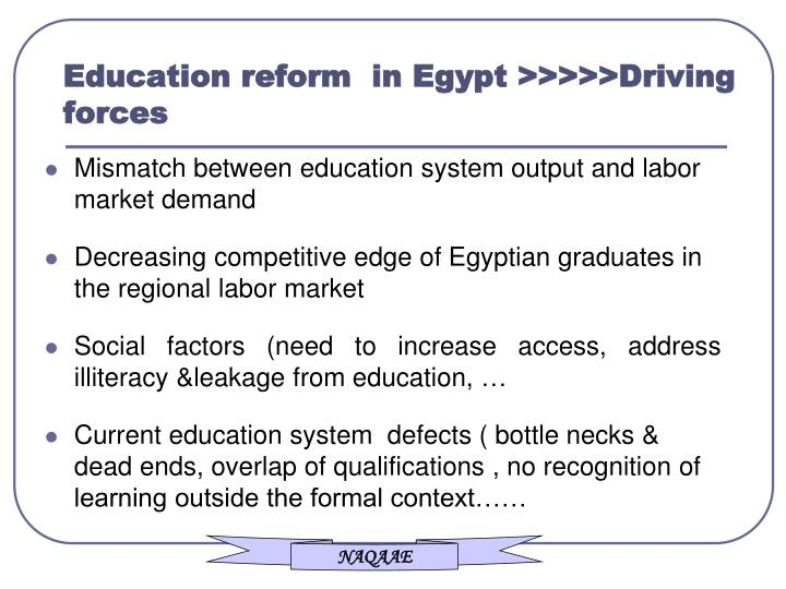 Education reform  in Egypt >>>>>Driving forces