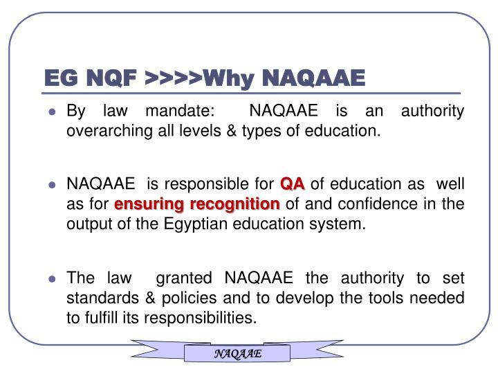 EG NQF >>>>Why NAQAAE