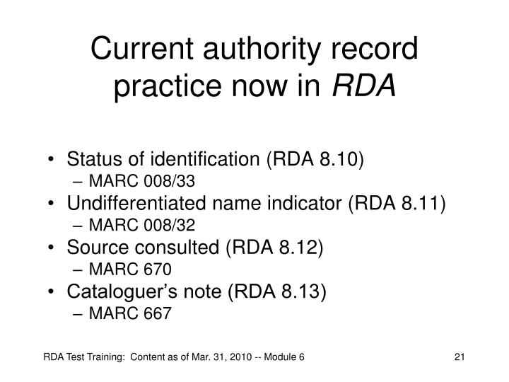 Current authority record practice now in