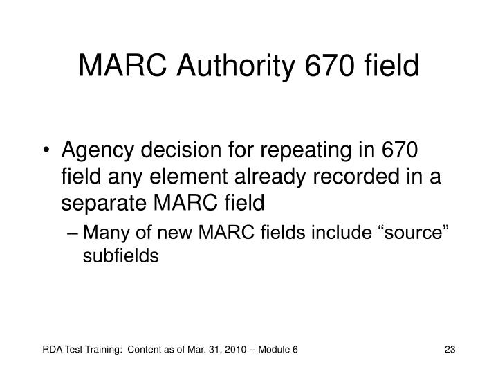 MARC Authority 670 field