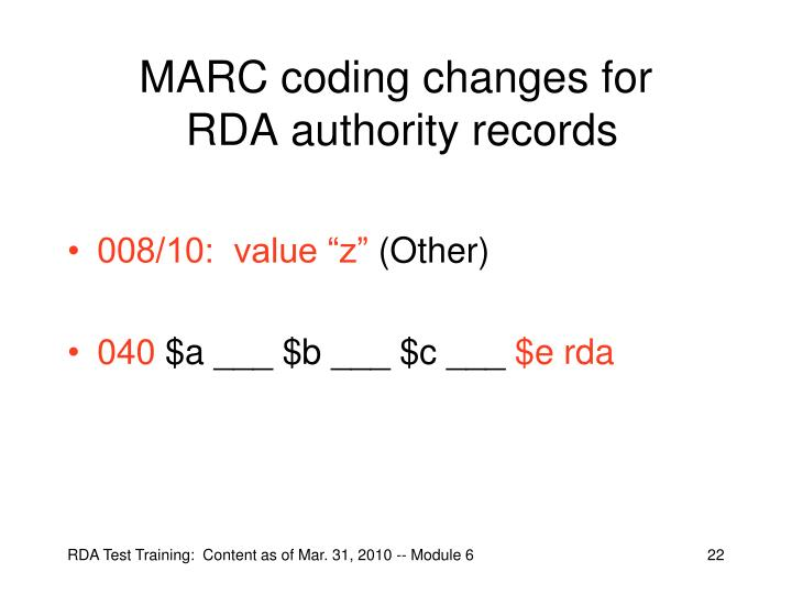 MARC coding changes for
