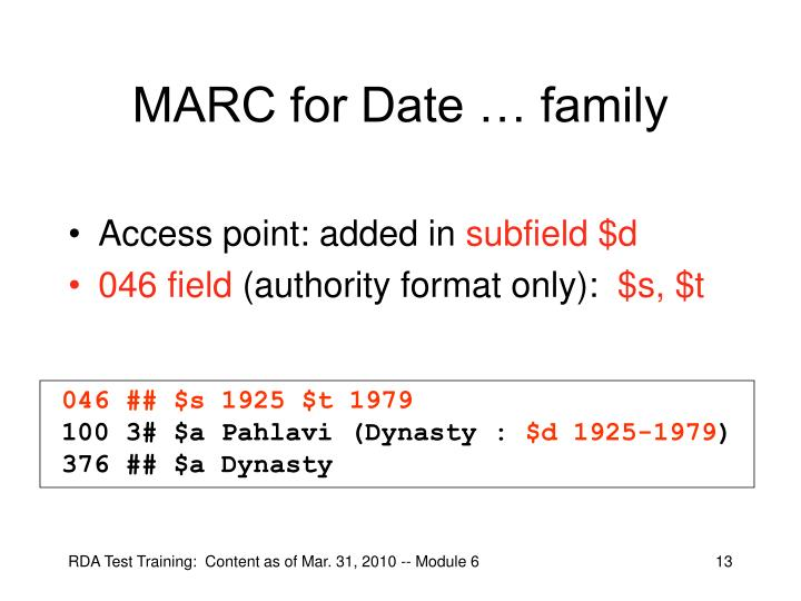 MARC for Date … family