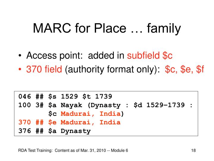 MARC for Place … family