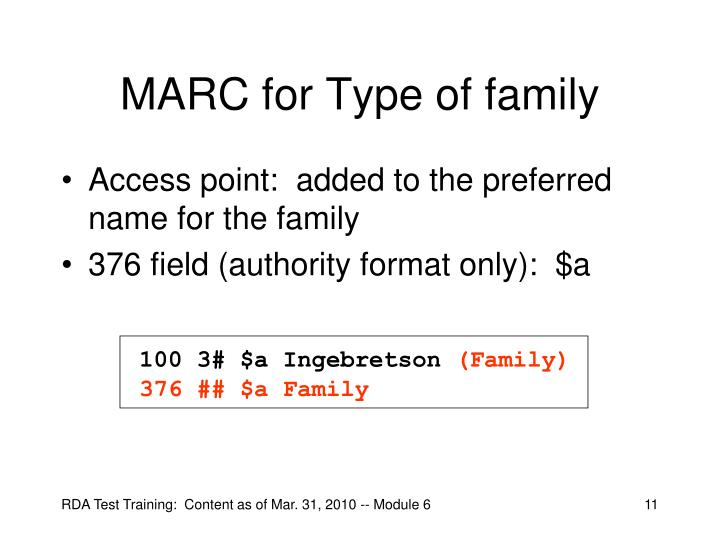 MARC for Type of family
