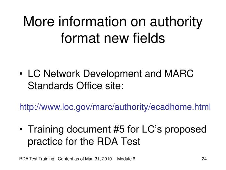 More information on authority format new fields