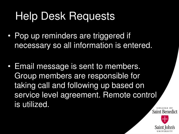 Help Desk Requests