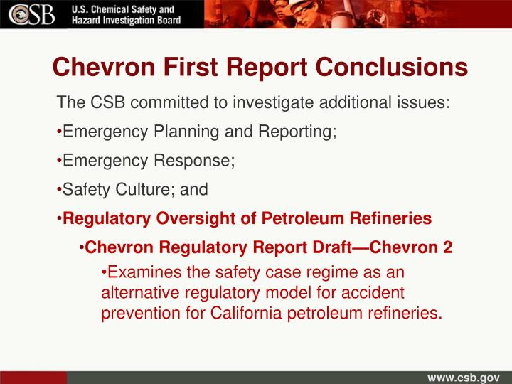 Chevron First Report Conclusions