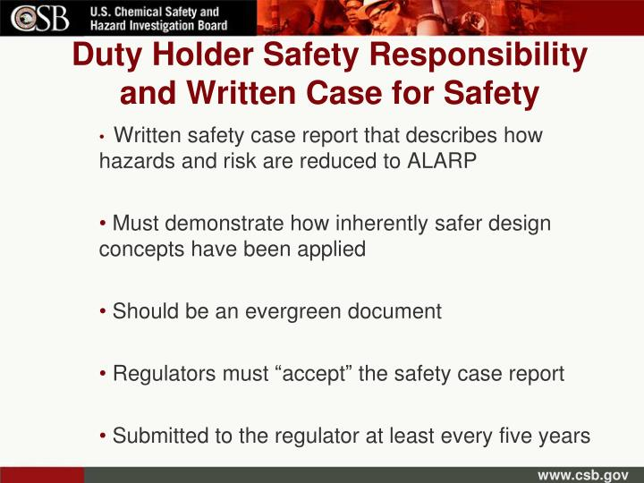 Duty Holder Safety Responsibility and Written Case for Safety