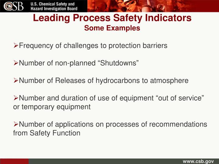 Leading Process Safety Indicators