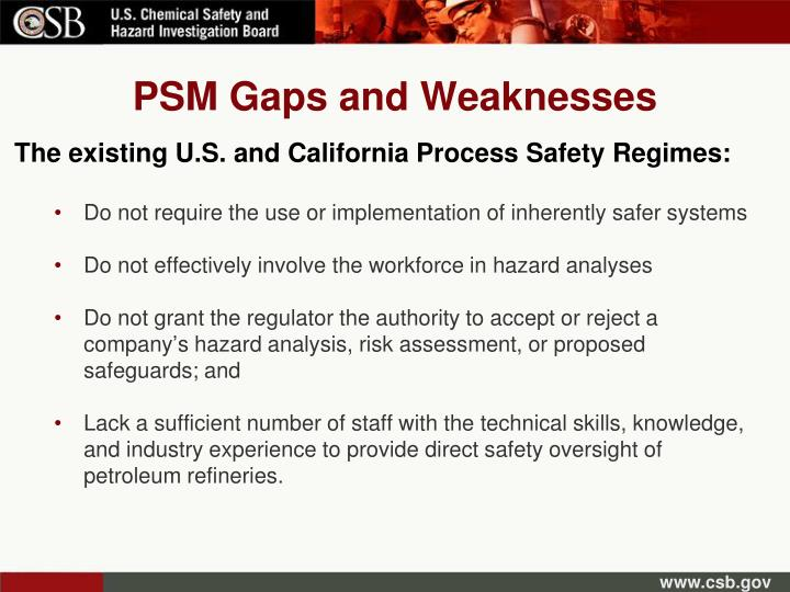 PSM Gaps and Weaknesses