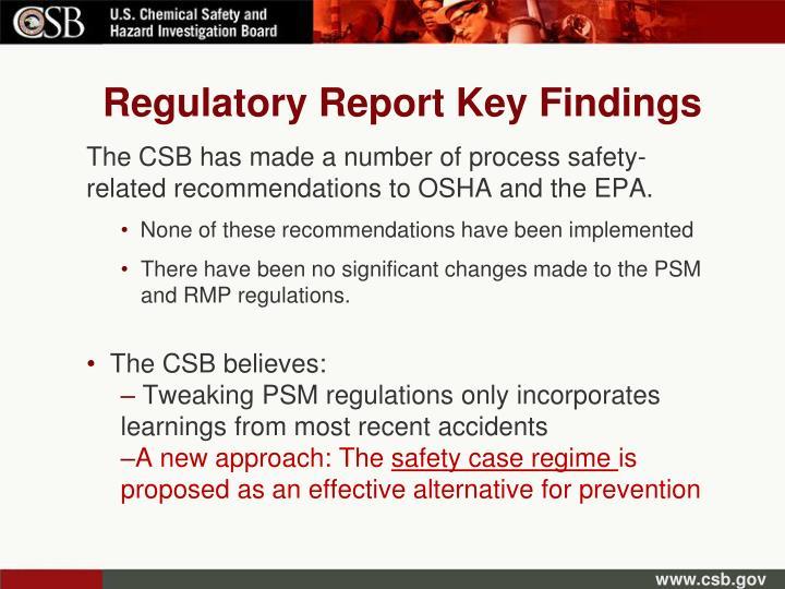 Regulatory Report Key Findings