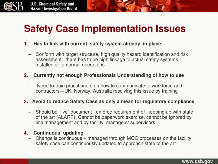Safety Case Implementation Issues