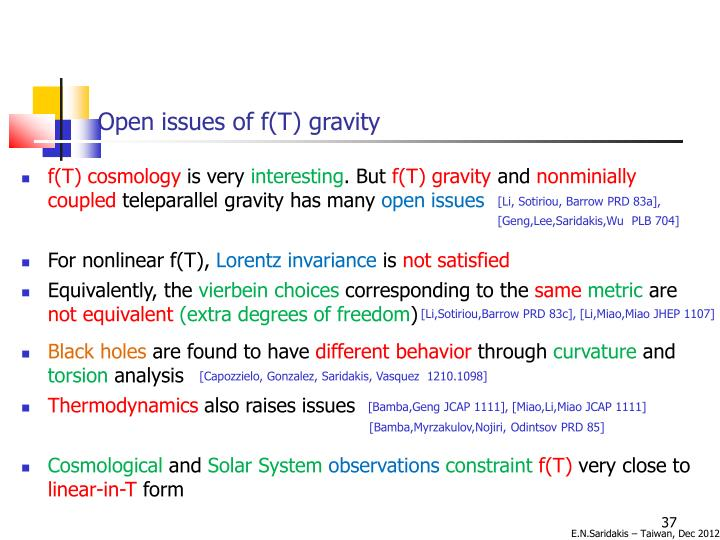 Open issues of f(T) gravity