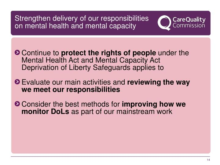 Strengthen delivery of our responsibilities on mental health and mental capacity