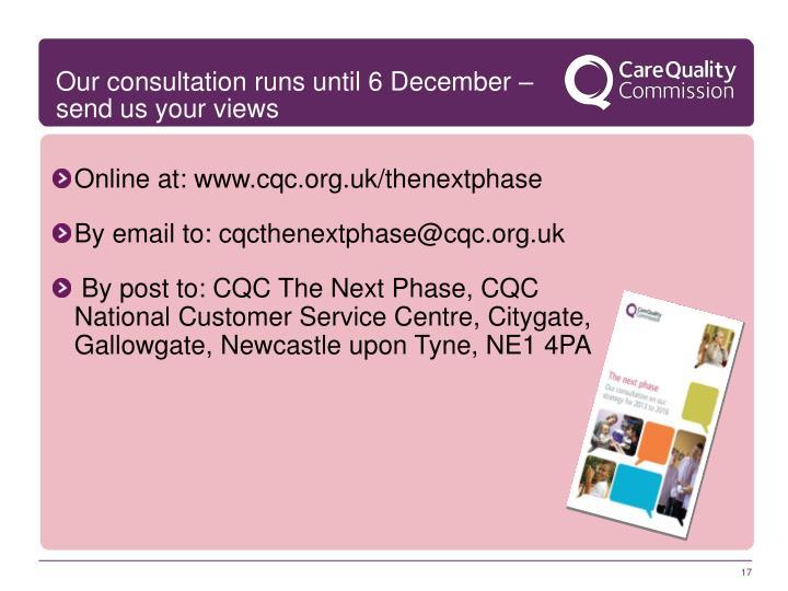 Our consultation runs until 6 December – send us your views