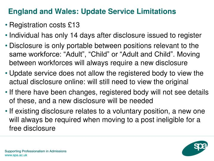 England and Wales: Update Service Limitations
