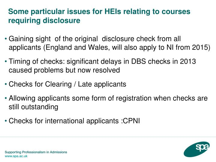 Some particular issues for HEIs relating to courses requiring disclosure