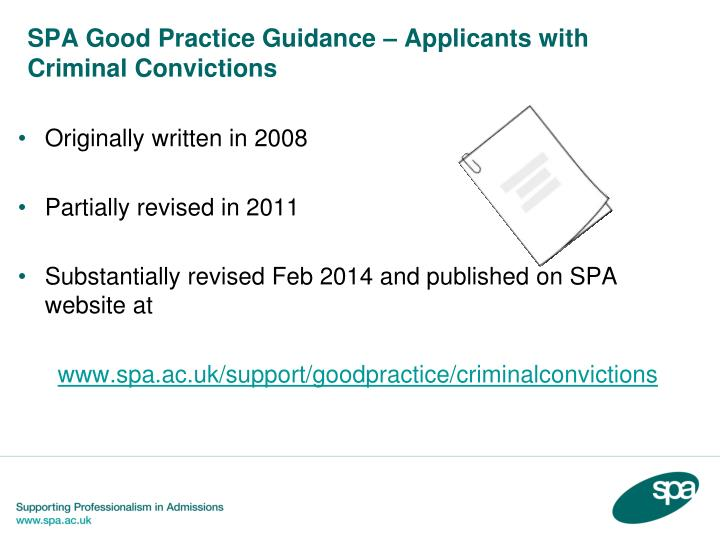 SPA Good Practice Guidance – Applicants with Criminal Convictions