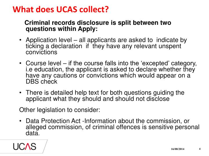 What does UCAS collect?