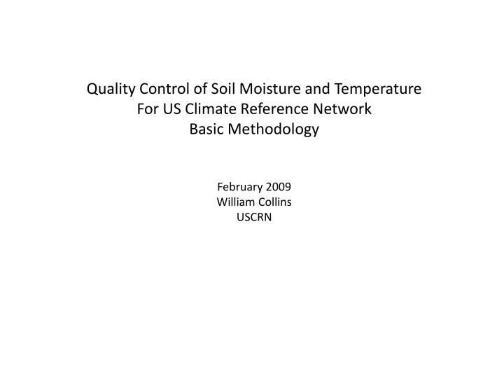 Quality Control of Soil Moisture and Temperature