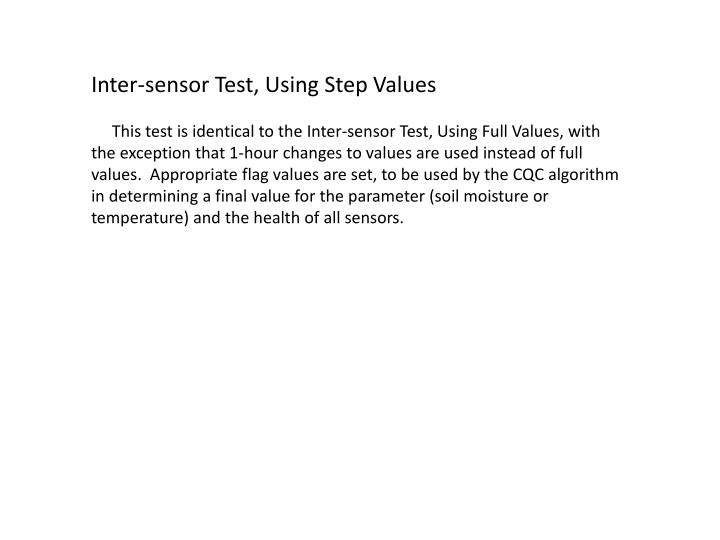 Inter-sensor Test, Using Step Values